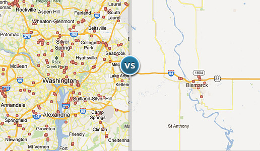 Comparing two illustrations: one depicting dense clusters of hospitals around the Washington, D.C. metro area versus another illustrating a much less dense cluster in Bismark, ND.