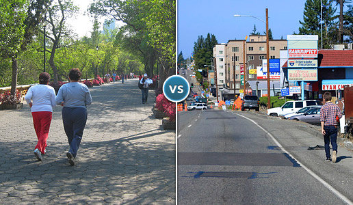 Comparing two photos: one of two women walking a planned paveway in safety versus another of a man walking the shoulder of a busy highway.