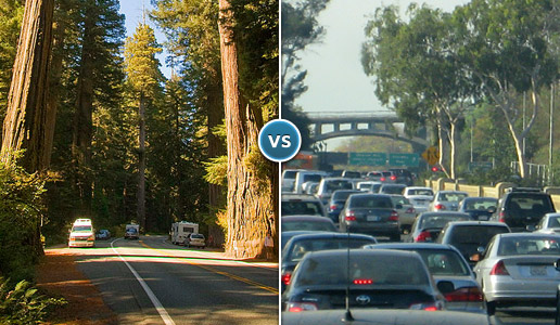 Comparing two photos: one of a road through a forest with few vehicles versus another of a traffic jam in a city.
