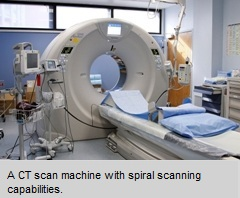 Image of a CAT scan machine with spiral scanning capabilities.