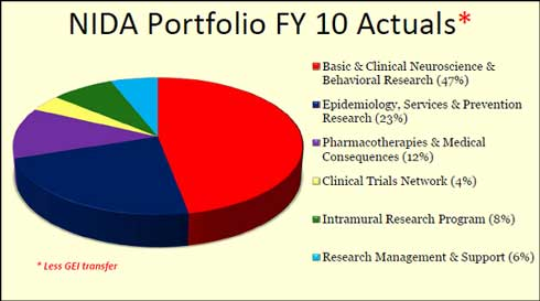 FY10 Funding, Basic & Clinical Neuroscience & Behavioral, 47%; Epidemiology and Prevention, 23%; Pharmacotherapies, 12%; Clinical Trials, 4%; IRP, 8%; Management, 6%