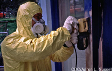 Photograph of a man removing lead paint from the outside of a house