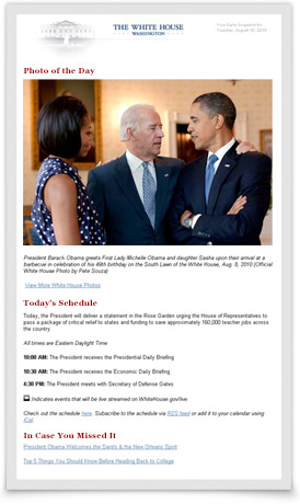 White House Daily Snapshot email