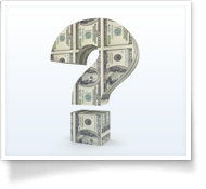 This is an image of a question mark filled with U.S. currency.