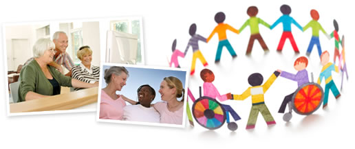 This image is a collage of images. The first photo shows 2 older women and 1 older man gathered around a computer screen. The second middle image shows 3 women embracing. The final image is a drawing of a diverse group of cut out pictures of people in varying colors.