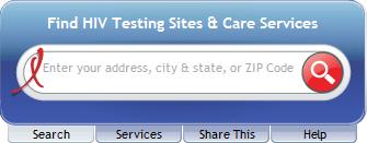 Screenshot of the AIDS.gov Locator Widget Horizontal Layout