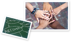 This image is a collage of 2 images. The first is of a flow diagram displaying the relation between crisis, recovery, and change. The second image shows five hands on top of each other to convey team unity.
