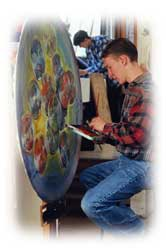 male student painting