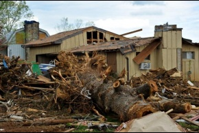A home destroyed by a tornado in Tennessee.