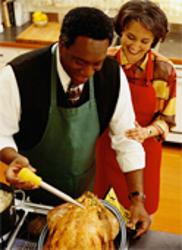 Couple with roasted turkey