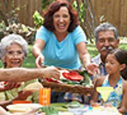 Family at picnic table