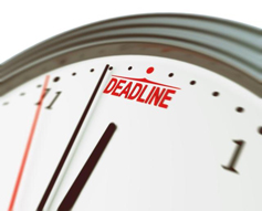 A clock with the word deadline