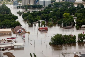 An eerial view of Burlington, North Dakota inundated with flood waters from the Souris River.