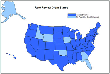 Map of the United States showing which states have been awarded Rate Review grants. See at text version of the map below for details.