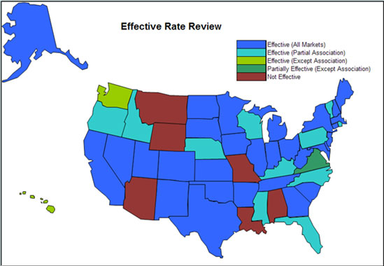 Map of the United States showing which states have effective Rate Review programs. See at text version of the map below for details.