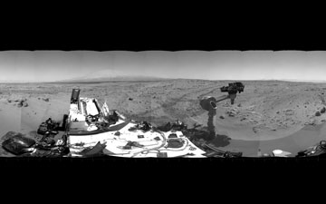 This 360-degree scene shows the surroundings of the location where NASA Mars rover Curiosity arrived on the 59th Martian day, or sol, of the rover's mission on Mars (Oct. 5, 2012). It is a mosaic of images taken by Curiosity's Navigation Camera (Navcam) on sols 59 and 60.