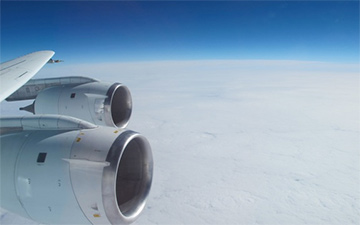 NASA's DC-8 over the Pacific during transit to Chile. Credit: NASA / Jim Yungel