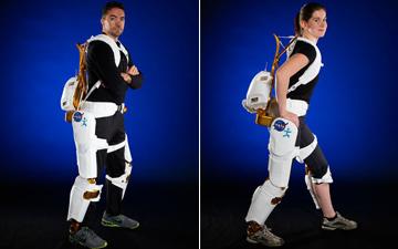 Project engineers demonstrate the X1 Robotic Exoskeleton. Image courtesy of Robert Markowitz