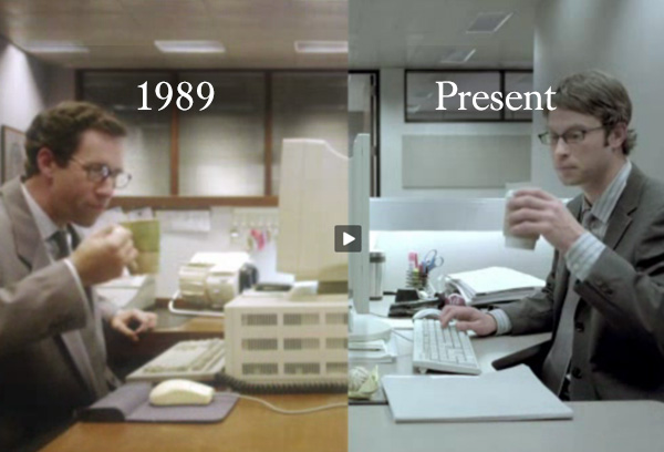Office workers sipping coffee at their desks  in the years 1989 and Present day.
