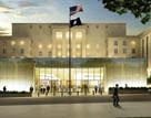 Description: Artist's rendering of the US Diplomacy Center museum, showing glass walls and ceiling spanning the courtyard on the 23rd street entrance to the Department of State - State Dept Image