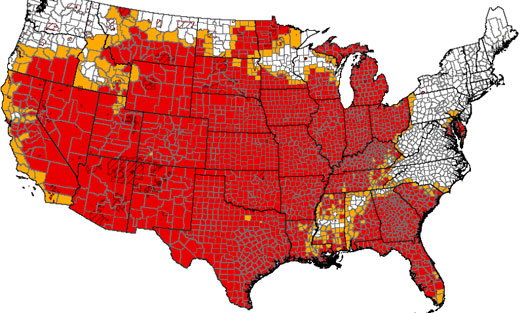 Photo: The map shows designations due to drought across the country under USDA's amended rule.