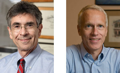 Two head shots of middle-aged men in dress shirts
