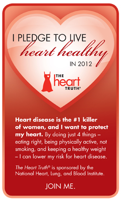 Healthy Action Badge with pledge to live heart healthy