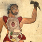 Islamic Medical Manuscripts: Illustration, in ink and opaque watercolors, of a male figure with his abdomen and chest opened to reveal the internal organs. His right hand holds a second set of genitalia, and a horn is in his other hand, with a sketch of the liver and gallbladder in the upper left corner. Undated and unsigned, probably 18th century, India. MS P 20, fol. 555a