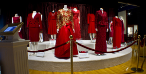 The First Ladies Red Dress Collection on exhibit at the George Bush Presidential Library and Museum at Texas A&M University.