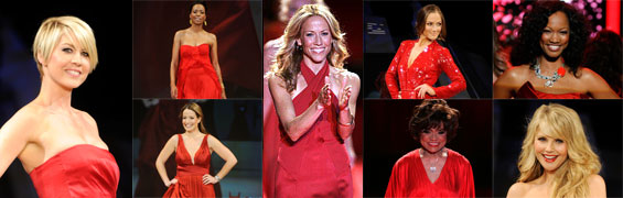 A collage of 8 celebrity women dressed in designer red dresses from The Heart Truth's Red Dress Collection Fashion Show over the past 10 years