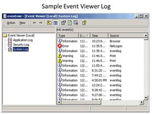 Sample Event Viewer log