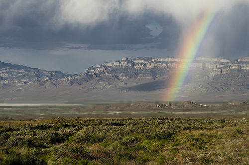 Image description: A rainbow descends into the Great Basin after a spring storm. The Great Basin is the largest terminal basin in the U.S., located in Utah, Nevada, Idaho, and Oregon. Photo by Larry Crist, U.S. Fish and Wildlife Service Mountain-Prairie Region.