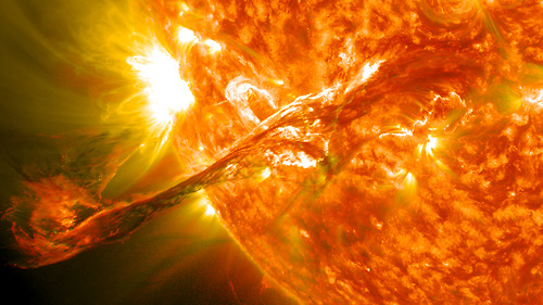 Image description: At the end of August, a filament from the sun suddenly erupted into space. The filament had been held up for days by the Sun's ever changing magnetic field and the timing of the eruption was unexpected. Learn more about the eruption. Image from the Solar Dynamics Observatory at NASA's Goddard Space Flight Center