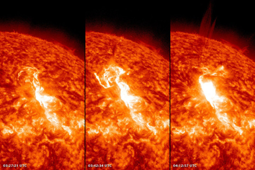 Image description: These images show a solar flare as observed on January 23. You can see the sun's surface brighten as gas was superheated and magnetically supercharged. In the far right image, there is a stream of solar material flowing into space, likely solar protons and a coronal mass ejection. Solar flares and coronal mass ejections are not a danger to humans on Earth. The planet's magnetic field and atmosphere deflect and absorb the energy. Sun storms can pose some risks to astronauts, and upset science, military, and communications satellites. Learn more about the recent sun flares. Images courtesy of NASA's Solar Dynamics Observatory
