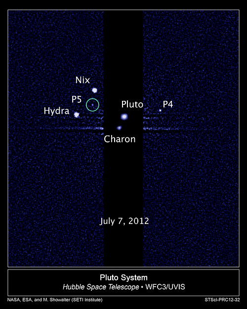 Image description: A team of astronomers using NASA's Hubble Space Telescope is reporting the discovery of another moon orbiting the icy dwarf planet Pluto.The moon is estimated to be irregular in shape and 6 to 15 miles across. Learn more about thediscovery. Image from NASA; ESA; M. Showalter, SETI Institute