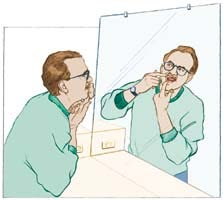 Illustration of man checking teeth and gums