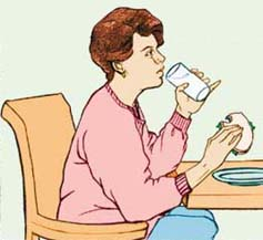 Illustration of woman drinking a beverage with her meal