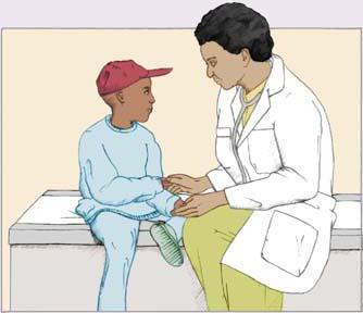 Illustration of dentist speaking with child