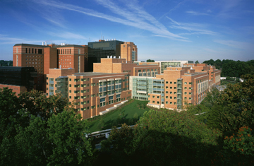 Aerial view of the NIH Clinical Center.