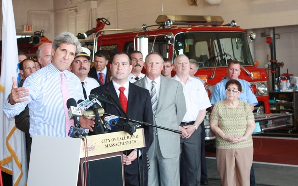 Kerry Visits Fall River to Deliver $14.5 Mil SAFER Grant, Saving 79 Firefighter Jobs