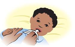 Baby's teeth being cleaned