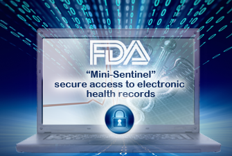Laptop saying Mini-Sentinel: secure access to electronic health records