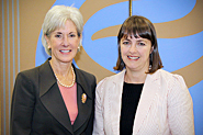 HHS Secretary Sebelius poses with Australian Minister of Health and Ageing, Nicola Roxon. Photo Credit: Don Conahan.