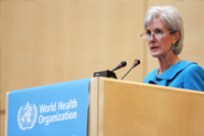 HHS Secretary Sebelius addresses the 65th World Health Assembly in the Palais Des Nations, Salle Des Assemblees. Credit: Photo by WHO/Pierre Albouy.