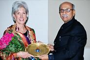 HHS Secretary Sebelius with Dr. Prabhakar Kore, Chancellor of the Karnataka Lingayat University.