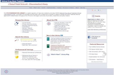 home page of dissemination library site
