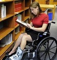 Wide stack aisles in the Main Reading Room accomodate wheelchairs