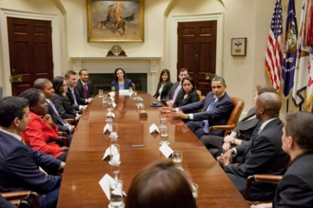 President Obama Meets with White House Fellows in the Roosevelt Room