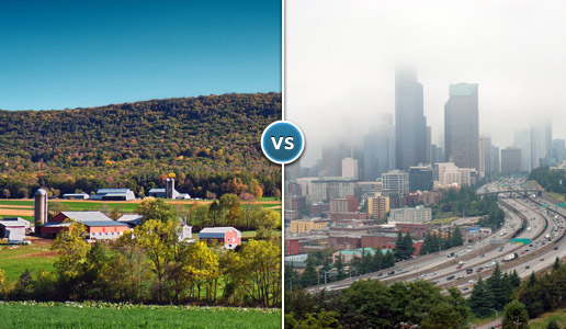 Comparing two photos: one of a rural farm versus another of a busy city.