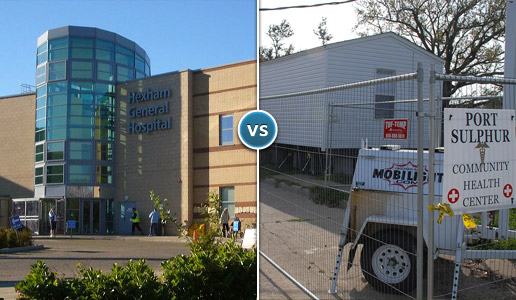 Comparing two photos: one of a large, modern hospital versus another of a medical center in a mobile trailer.